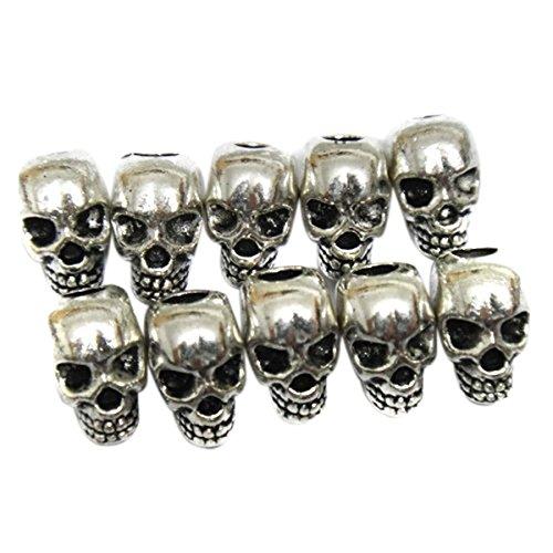 VORCOOL 30st Skull Spacer Perlen DIY Zubehör für Halskette Machen (Silber)