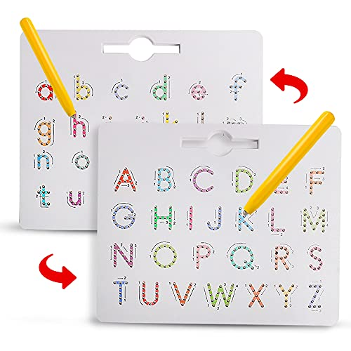 Double Sided Magnetic Letter Board - 2 in 1 Alphabet Magnets ABC Tracing Board Game Uppercase & Lowercase Montessori Educational Toys for Kids Toddlers Boys Girls 3 4 5 6 7 8 Years Old