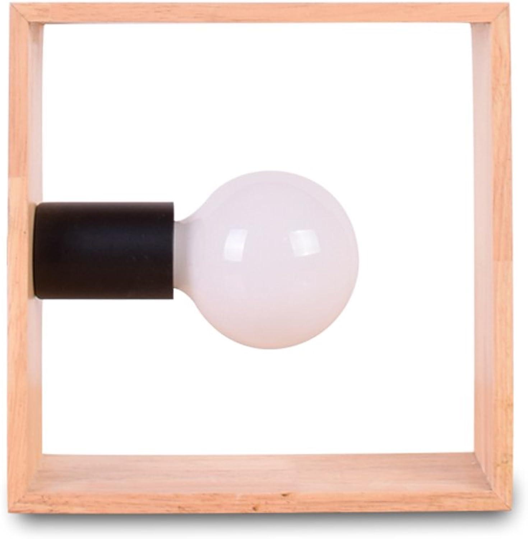 JIAHONG Moderne Schlafzimmer Nachttisch aus Massivholz Tischlampe, viereckige Schreibtisch Lesen Persnlichkeit Knopf Schalter Kunst LED Lampe
