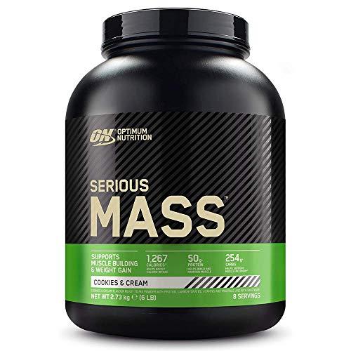Optimum Nutrition Serious Mass Proteina en Polvo, Mass Gainer Alto en Proteína, con Vitaminas, Creatina y Glutamina, Galletas y Crema, 8 Porciones, 2,73kg, Embalaje Puede Variar