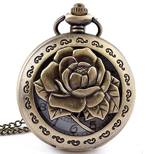KX-YF Reloj De Bolsillo Patrón De Flor Hueca Cadena De Diámetro Simple Reloj De Bolsillo De Cuarzo Adecuado para Regalos Y Recuerdos.