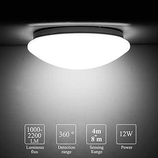 Luz de techo LED con sensor de movimiento, MOSINITTY 12W 1000-2200LM redondo sensor de techo, rango de detección de 8 m, rango de detección 360o rango de detección