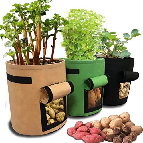 Kartoffel pflanzbeutel, Pflanztasche, Dasongff Pflanze Wachsende Tasche 30x30x35cm, Gallons Grow Bag Garten Übertopf Vliesstoff Pflanzsack mit Griffe für Kartoffeln, Tomaten und Erdbeeren