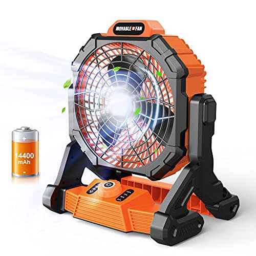 Cordless Jobsite Fan with LED Work Light - 14400mAh Battery Powered 500CFM Airflow IP54 Waterproof Portable Floor Fan with USB Charger for Industrial Outdoors Home 10.6 Inch