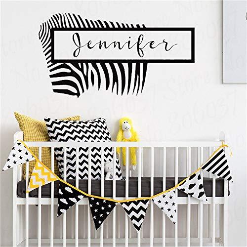 yaofale Zebra Wandtattoo mit personalisiertem Namen, Tier Wandaufkleber, Vinyl Dekoration, Heimdekoration, Kinderzimmer Innenarchitektur