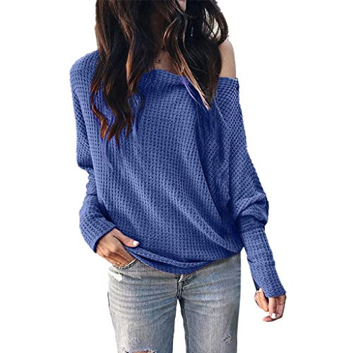 Best Price! Women's Off Shoulder Tops Casual Loose Shirt Batwing Sleeve Tunics Blouse HebeTop Blue