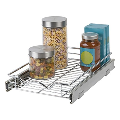 """Slide Out Cabinet Organizer - Chrome One Tier 11'W x 18""""D x 3.2""""H, Requires At Least 12"""" Cabinet Opening, Slide Out Kitchen Cabinet Organizer & Pull Out Under Cabinet Pots & Pans Sliding Shelf"""