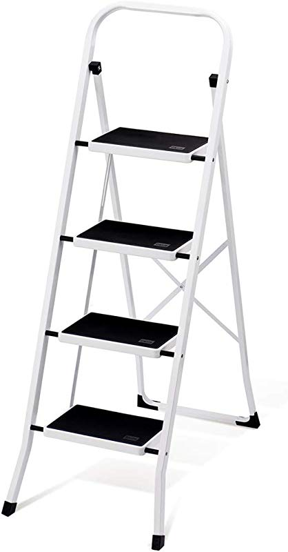 Delxo Folding 4 Step Ladder With Convenient Handgrip Anti Slip Sturdy And Wide Pedal 330lbs Portable Steel Step Stool White And Black 4 Feet