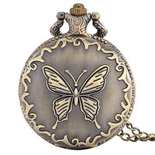 YUTRD ZCJUX Exquisito Collar de Mariposa de Bronce, Reloj de Bolsillo de Cuarzo, Reloj de Bolsillo con Cadena de suéter Retro, Regalos para Hombres y Mujeres