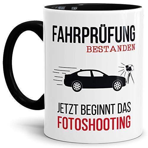 Taza con texto en alemán para carné de conducir – Fotoshooting – Interior & Henkel Negro – Mug/Cup/Vaso/Divertido/Idea/mejor calidad
