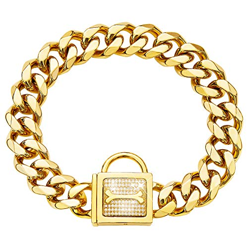 BMusdog Gold Chain Dog Collar with Bling Bling CZ Dimonds 19MM Heavy Duty Thick 18K Gold Cuban Link Chain Stainless Steel Metal Links Walking Training Chain Necklace (14')