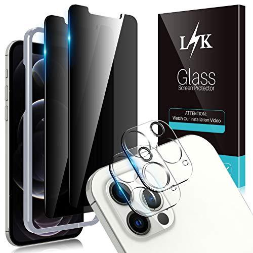 LϟK 4 Stück Privatsphäre Schutzfolie Kompatibel mit iPhone 12 Pro 6.1 Zoll mit 2 Stück Sichtschutz Glas Folie + 2 Stück Kamera Schutzfolie - HD klar Folie Gehärtetes Glas Displayschutz