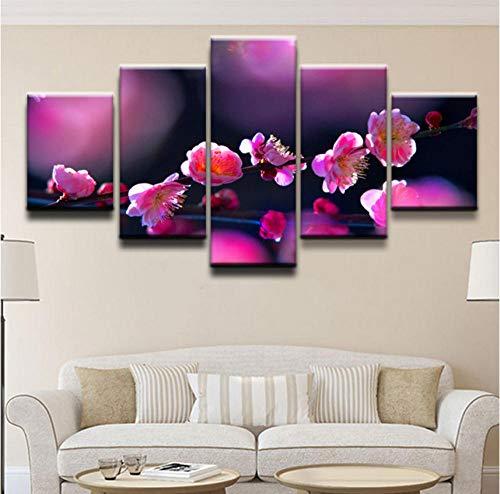 Apurpler HD canvas muurkunst modulair 5 - natuurlandschap takken roze kersenbloesem canvasdruk modern decoratief canvas olieverfschilderij poster [20x35cmx2 20x45cmx2 20x55cmx1]Rahmen Frame