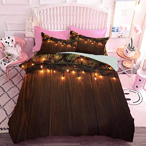 Hiiiman Bedding Cover Set 3pcs Xmas Branch with Lights Country Festivity Synergy Surprise Celebration Theme (3pcs, Queen Size) Ultra Soft Microfiber Bedroom Duvet Cover