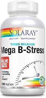 Solaray Mega Vitamin B-Stress, Two-Stage Timed-Release | Specially Formulated w/B Complex Vitamins for Stress Support | No...