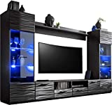 Voguish Furniture Combo for Living Room - Freestanding Tall Cabinet - Wall Shelf - 15 Colour LED - TV Unit Floor Cabinet - SWITCH