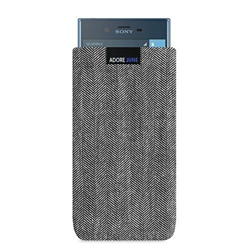 Adore June Business Tasche passend für Sony Xperia XZs/XZ Handytasche aus charakteristischem Fischgrat Stoff - Grau/Schwarz | Schutztasche Zubehör mit Bildschirm Reinigungs-Effekt | Made in Europe