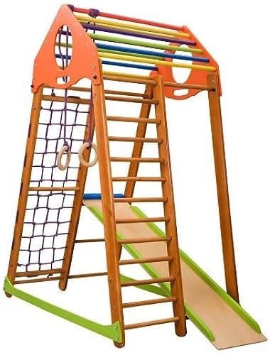 Kinder zu Hause aus Holz Spielplatz mit Rutschbahn  mbinowood letternetz Ringe Kletterwand