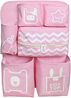 Yishelle-home Baby Diaper Organizer Crib Storage Bag Hanging Bag Bed Diaper Storage Bedside Storage Bag Hanging Diaper Storage Bag  Color Pink  Size 47X35X9CM