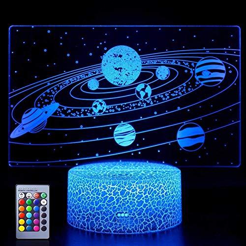 Sistema solar 3D de luz nocturna para niños, sistema solar 3D ilusión junto a la lámpara de mesa con 16 colores cambiantes y mando a distancia, sistema solar juguetes para niños, edad 7 6 5 4 3
