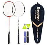 Senston Badminton Racket Set Two Pieces Badminton Racquets Graphite Badminton Rackets with Racket Cover 1/2 Dozen Shuttlecock and 2 Overgrips(Random Color)