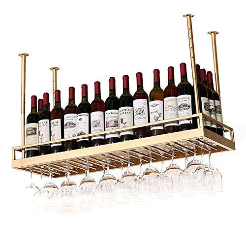 Estantes colgantes para copas de vino Tallador de copa de vino de barra de metal vintage industrial, altura ajustable, talleres al revés por encima del soporte de copa, botella de vajilla Estante flot