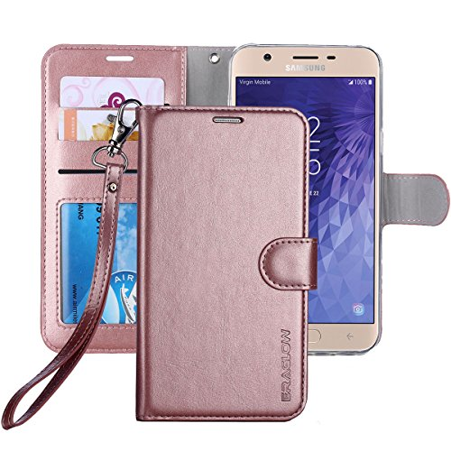 Galaxy J7 2018 Case/J7 V 2nd case/J7 Refine/J7 Star/J7 Aero/J7 Crown/J7 Top/J7 Aura/J7 Eon Case, ERAGLOW Luxury PU Leather Wallet Flip Protective Case Cover for Samsung Galaxy J737 (Rose Gold)
