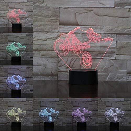 conasmyy Lámpara de ilusión 3D, luz de noche LED, ventiladores de coche, espectáculos de motocicleta, regalos para niños, regalo de cumpleaños, flash remoto táctil, regalos de navidad
