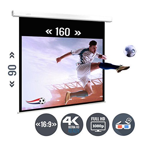 Ultraluxx copy; Soft Return Beamer doek Rollo-canvas | 183 cm (72 inch) beelddiagonaal | 160 x 90 cm weergaveoppervlak | Formaat: 16:9 | Totale breedte: 178 cm | EM 2016 in groot formaat