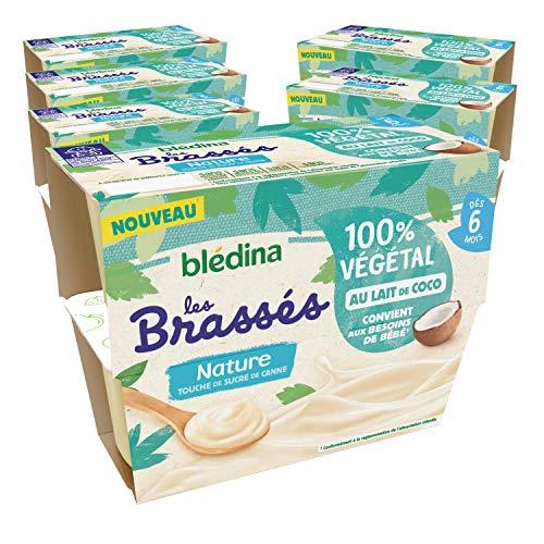 Blédina, Brassés 100% Végétal, Dès 6 Mois, Lait de Coco Nature Touche de Sucre de Canne, 4x95g (6 packs)