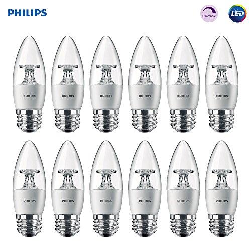 Philips Bombilla LED para lámpara de techo (12unidades), equivalente a 40W, blanco suave (2700K)…