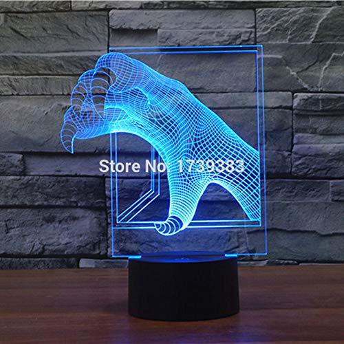 Nur 1 Stk. 7 Farbwechsel Dinosaurierwelt Park Tyrannosaurier Rex Klaue 3D LED Nachtlicht USB LED Dekorative Tischlampe Schreibtischbeleuchtung