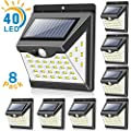 Solar Lights Outdoor[40 LED & 3 Working Modes], Towkka Wireless IP65 Waterproof Solar Lights with 300° Lighting Angle, Security Solar Motion Sensor Lights for Fence Front Door Yard Patio Garden(8pack)