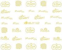 ネイルシール アルファベット 文字 パート2 ブラック/ホワイト/ゴールド/シルバー 選べる44種 (ゴールドGP, 25)
