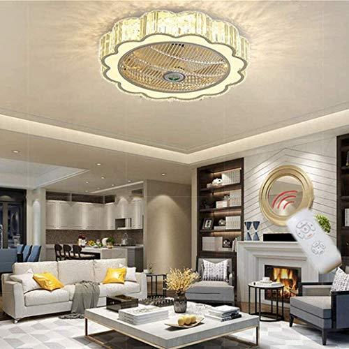 miwaimao Ventilador de techo moderno y minimalista, lámpara de araña, regulable, ventilador redondo LED, ultra silencioso, bajo consumo para dormitorio y dormitorio, 60 cm
