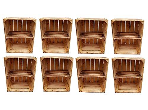 Massive Holzkisten als Schuhregal / Bücherregal LEICHT GEFLAMMT mit Zwischenbrett (verschraubt) Apfelkisten Obstkisten Weinkisten aus dem alten Land Kisten-Regal flambiert Vintage Deko (8er Set Quer)