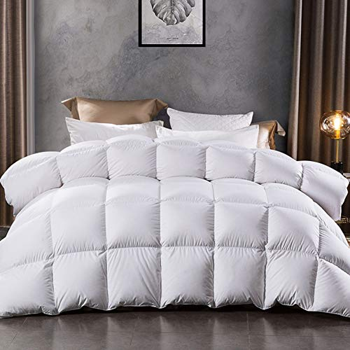 LESNNCIER Luxurious White Goose Down Comforter,1200 Thread Count 100% Cotton Fabric - Baffle Box Construction,750+ Fill Power(King Size, White)