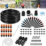 Drip Irrigation Kit, 42m/138ft Garden Irrigation System with Adjustable Nozzle Plant Garden Hose Water Sprinkler & Automatic Garden Watering System Kit Misting Cooling System for Garden Greenhouse