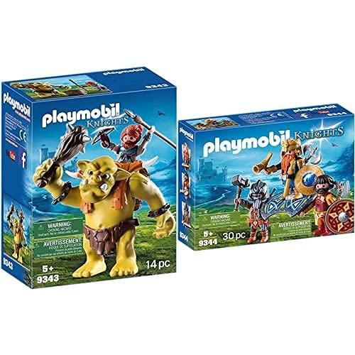 Playmobil Knights 9343 Giocattolo Guerriero con Troll Gigante, dai 4 anni & Knights 9344 Giocattolo Re Guerriero, dai 4 anni