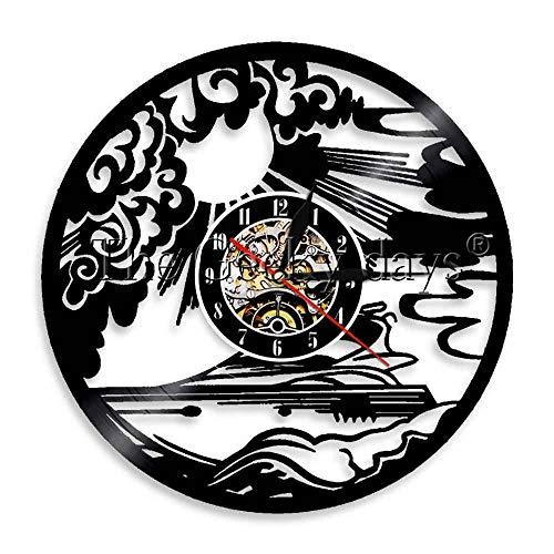 wttian 1-teiliges Yachting Sport Vinyl-Schallplatten-Wanduhr Mariner Sailing Ship Clock Seaman-Wandkunstuhr