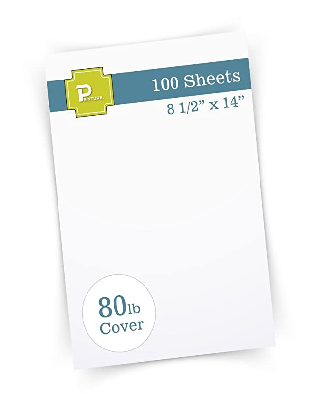 "Printure Pure White Legal Size Cardstock (8 1/2"" X 14"") - Heavyweight 80lb Cover - Great for Menu Paper, Documents, Programs (100 Sheets)"
