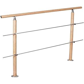 Uisebrt - Barandilla para escaleras, de acero inoxidable, vetas de madera con 2/3 travesaños, barandilla para interior y exterior, para escaleras, balcón, parapetos: Amazon.es: Bricolaje y herramientas