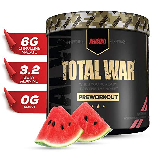 Redcon1 Total War - Pre Workout, 30 Servings, Boost Energy, Increase Endurance and Focus, Beta-Alanine, Caffeine (Watermelon)