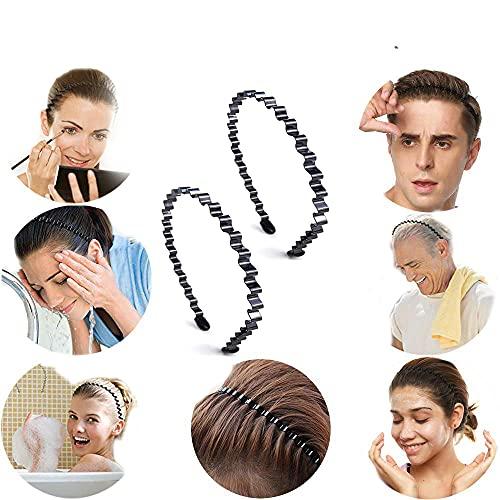 3pcs Diadema de Metal Hombre y Mujer Unisex Diadema Negra Ondulada Flexible Diadema Antideslizante Simple Deporte Banda para el Cabello Peinado Pinchos Aro de Pelo Accesorios