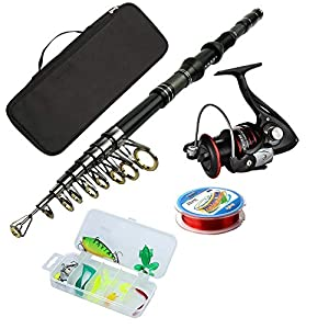 Rod and Reel Combos Carbon Fiber Telescopic Fishing Rod with Reel Combo Sea Saltwater Freshwater Kit Fishing Rod Kit