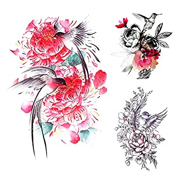 bird flower tattoo