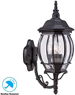 3-Light Outdoor Black Wall Lantern with Clear Beveled Glass