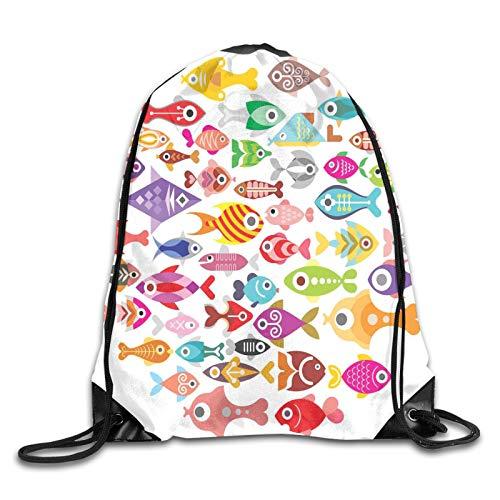 Drawstring Gym Bag Backpack,Rounded Different Size Type Fish Motifs Underwater World Exotic Fauna Gills Design,Rucksack for School Sports Travel Women Children Birthday Present