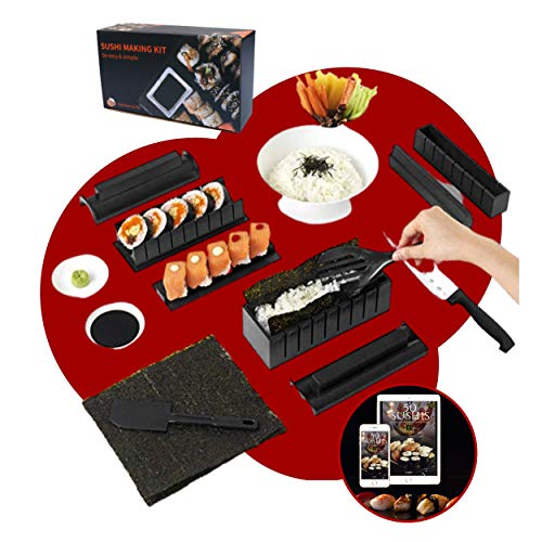 Luspo Sushi Maker Kit - Set Completi + 50 recipes in Italiano+Guida al montaggio | 12 Pezzi - Con Coltello da Sushi Expert Cottura del Riso - Accessori da Cucina Giapponese per nori