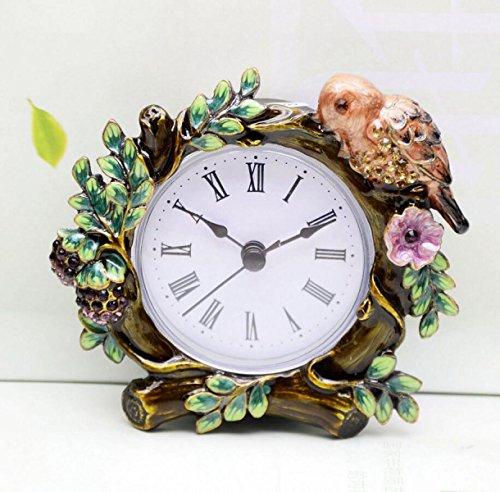 Horloge Européenne Fleur Métal Décoratif Boutique De Création Rétro-réveil Montre Cadeaux Design Rétro
